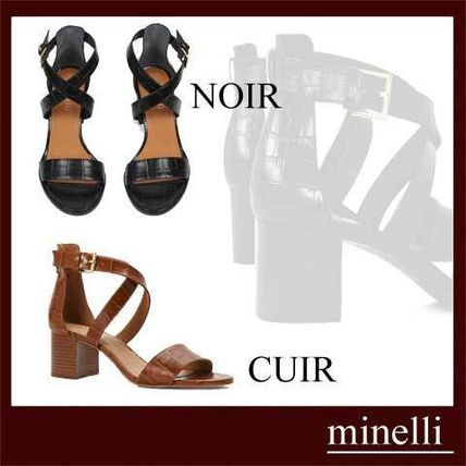 Open Toe Other Animal Patterns Leather Block Heels