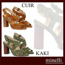 minelli Square Toe Casual Style Suede Plain Block Heels Party Style