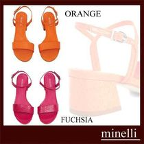 minelli Open Toe Casual Style Other Animal Patterns Leather
