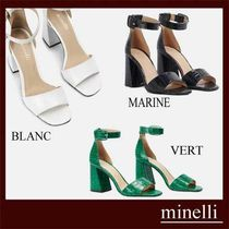 minelli Square Toe Plain Other Animal Patterns Leather Block Heels