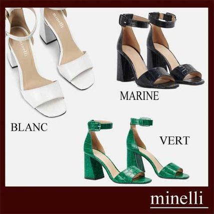 Square Toe Plain Other Animal Patterns Leather Block Heels