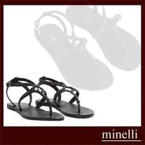 minelli Casual Style Plain Leather Shower Shoes Slippers