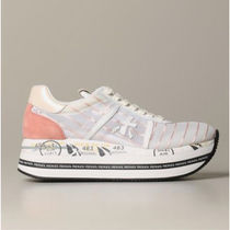 PREMIATA Stripes Round Toe Lace-up Casual Style Unisex Suede