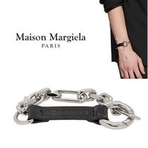 Maison Margiela Leather Silver Logo Bracelets