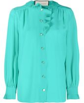 GUCCI Casual Style Silk Long Sleeves Plain Party Style