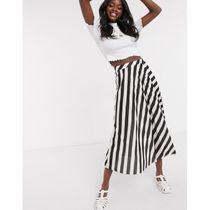 ASOS Flared Skirts Stripes Casual Style Pleated Skirts Medium