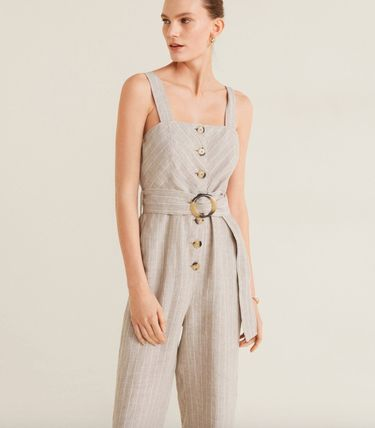 Dungarees Stripes Linen Dresses