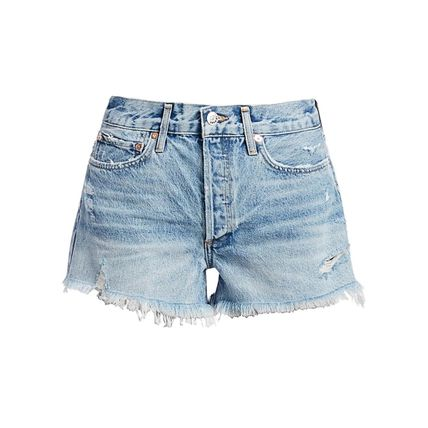 AGOLDE Casual Style Plain Cotton Denim & Cotton Shorts