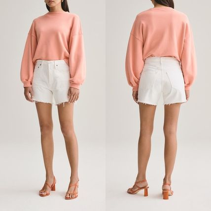 Casual Style Plain Cotton Denim & Cotton Shorts