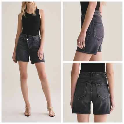 Casual Style Plain Cotton Medium Denim & Cotton Shorts