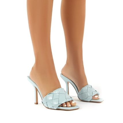 Square Toe Plain Pin Heels Party Style Mules Heeled Sandals