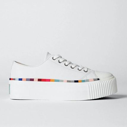 Stripes Heart Unisex Street Style Plain Low-Top Sneakers