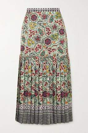 Flared Skirts Paisley Casual Style Pleated Skirts Medium