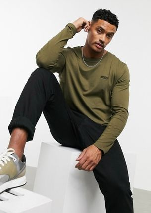 Crew Neck Pullovers Long Sleeves Cotton Long Sleeve T-shirt