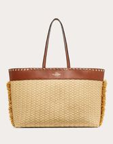 VALENTINO SHOPPING Casual Style Blended Fabrics Studded A4 Plain Fringes Totes