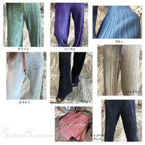 Casual Style Pleated Skirts Plain Long Office Style