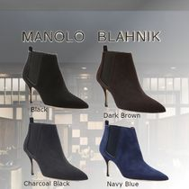 Manolo Blahnik Casual Style Suede Fur Leather Party Style Elegant Style
