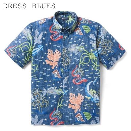 Button-down Tropical Patterns Cotton Short Sleeves Shirts