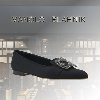 Manolo Blahnik Fur Casual Style Suede Leather With Jewels Elegant Style