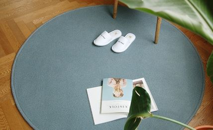 Unisex Collaboration Plain Round Carpets & Rugs