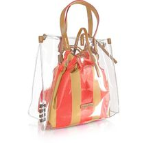 Manila Grace Stripes Casual Style Crystal Clear Bags Office Style
