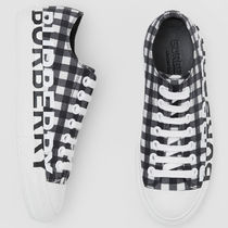 Burberry Gingham Plain Toe Lace-up Casual Style Sheepskin