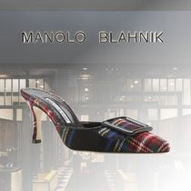 Manolo Blahnik Tartan Casual Style Suede Fur Leather Party Style