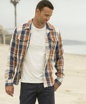Outer known Button-down Other Plaid Patterns Unisex Long Sleeves Cotton