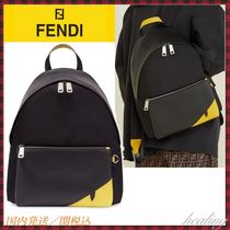 FENDI BAG BUGS Calfskin Blended Fabrics A4 2WAY Plain Leather Logo
