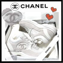 CHANEL SPORTS Unisex Suede Plain Leather Sneakers