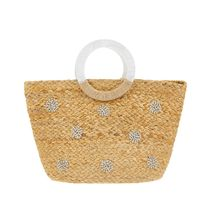 Accessorize 2WAY Plain With Jewels Crossbody Straw Bags