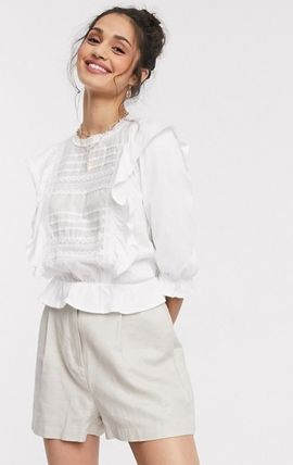 Lace-up Cropped Lace Shirts & Blouses