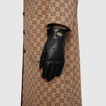 GUCCI Plain Leather Logo Leather & Faux Leather Gloves