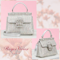 Roger Vivier Blended Fabrics 3WAY Leather Party Style With Jewels