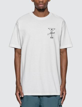 Crew Neck Street Style Plain Cotton Short Sleeves Logo