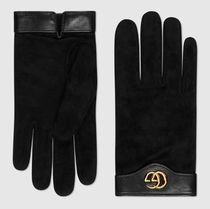 GUCCI Suede Blended Fabrics Plain Leather Logo