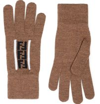 FENDI Monogram Wool Street Style Bi-color Plain Logo Gloves Gloves