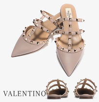 VALENTINO Casual Style Blended Fabrics Street Style Leather