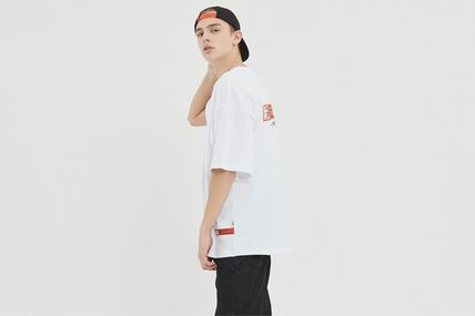 Crew Neck Unisex Street Style Cotton Short Sleeves Oversized