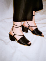 About Arianne Open Toe Lace-up Plain Leather Block Heels Elegant Style