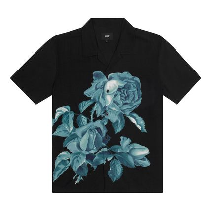 HUF Shirts Button-down Flower Patterns Street Style Short Sleeves