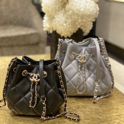 CHANEL Lambskin Chain Plain Purses Crossbody Logo Bucket Bags