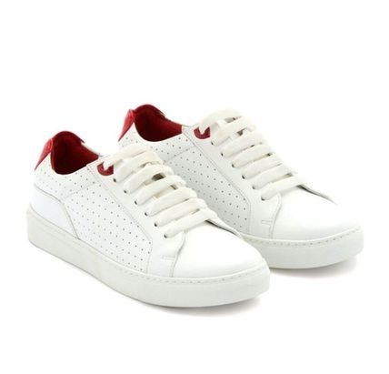 Round Toe Lace-up Casual Style Plain Leather