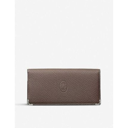 Calfskin Plain Leather Long Wallets