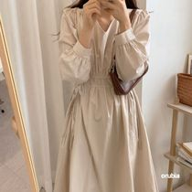 Casual Style A-line Chiffon Dolman Sleeves Flared V-Neck