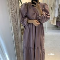 Crew Neck Wrap Dresses Casual Style Maxi A-line Chiffon