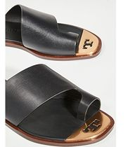 Tory Burch Open Toe Rubber Sole Casual Style Plain Leather