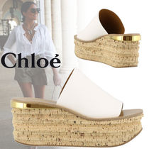 Chloe Camille Open Toe Casual Style Plain Leather Mules