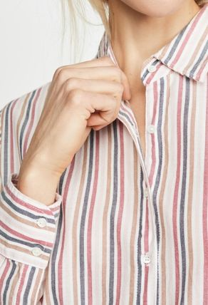 Stripes Casual Style Long Sleeves Cotton Medium