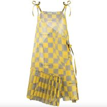 Off-White Other Plaid Patterns Casual Style A-line Sleeveless